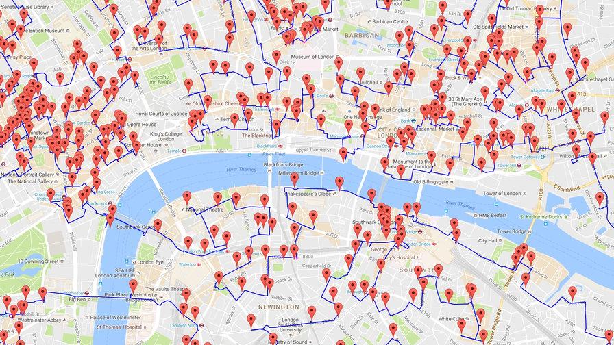 optimierter Ausflugsweg zu allen Pubs in London